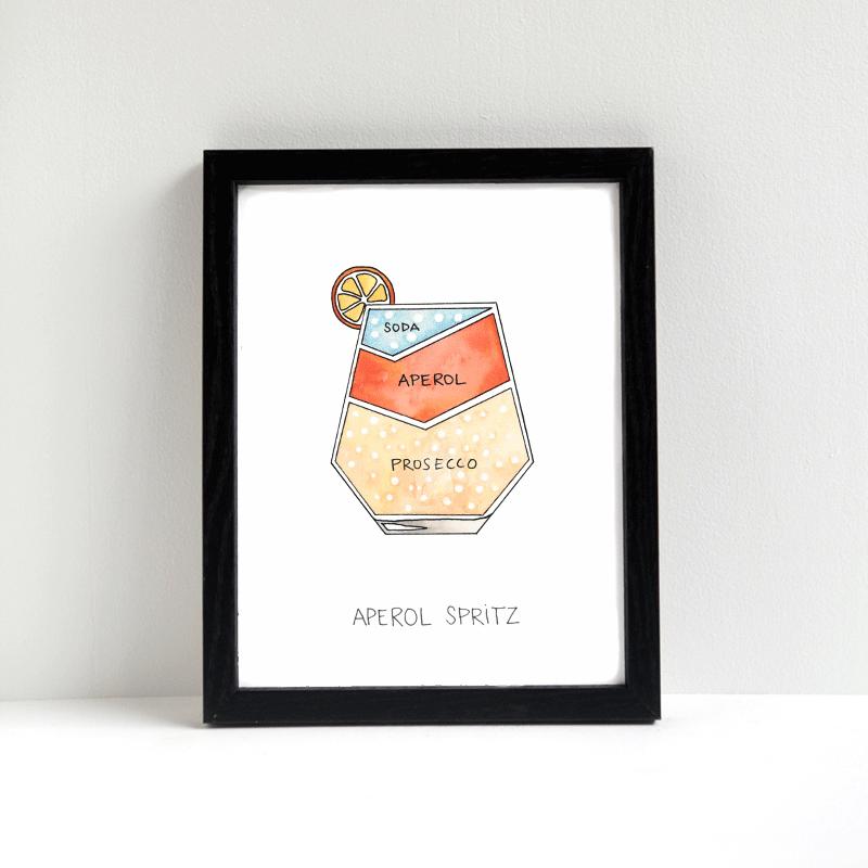 Image of Aperol Spritz Cocktail Art Print