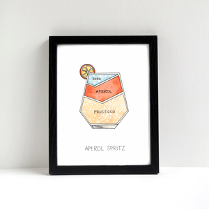 Aperol Spritz Cocktail Art Print by Alyson Thomas of Drywell Art. Available at shop.drywellart.com