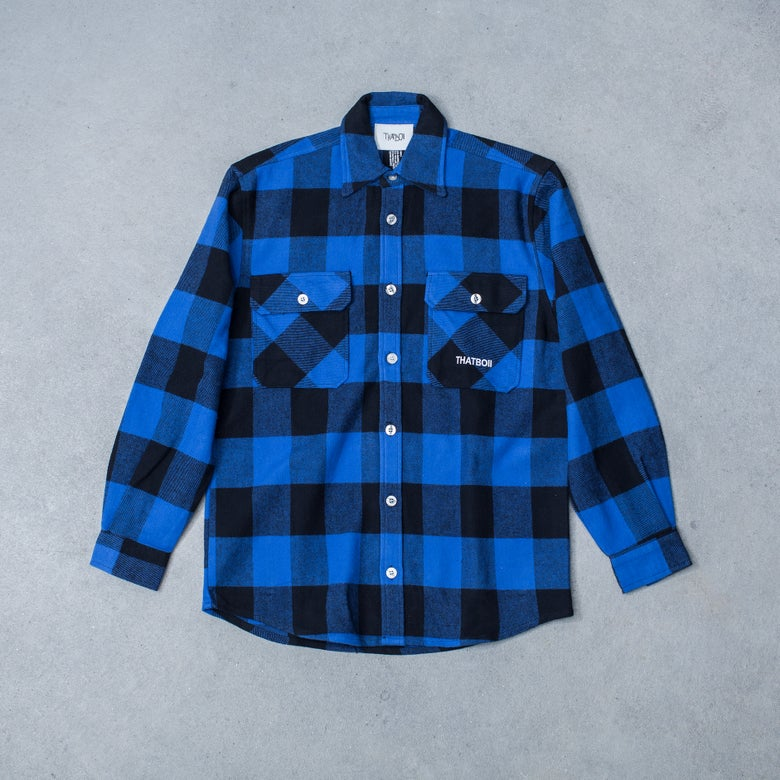 Image of THATBOII OVERSIZED FLANNEL SHIRT - BLUE/BLACK