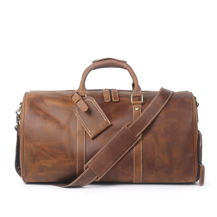 Vintage Crazy Horse Leather Duffle Bag Travel With Shoes Compartment Weekend S12026