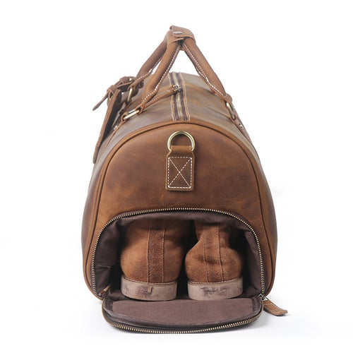 Image of Vintage Crazy Horse Leather Duffle Bag, Travel Bag with Shoes Compartment, Weekend Bag S12026