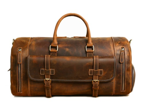 Image of Handmade Vintage Brown Leather Duffle Bag with Shoes Compartment, Travel Bag LJ1188