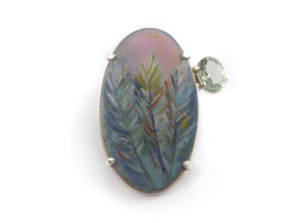 Image of Brooch Painted enamel Feathers