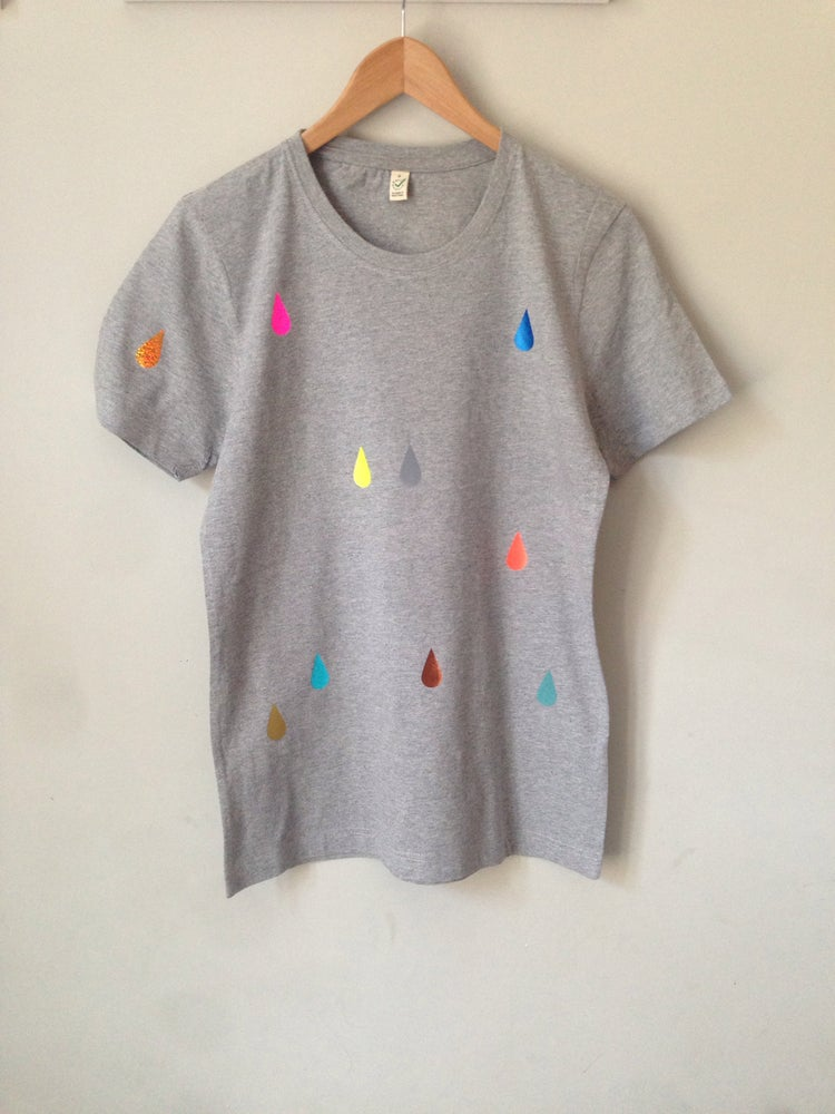 Image of Shirt drops grey adults/ round neck