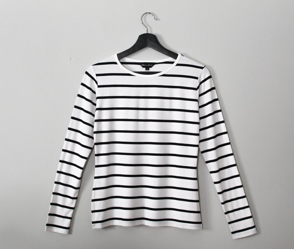Image of Long-Sleeved Knit Top with Stripes