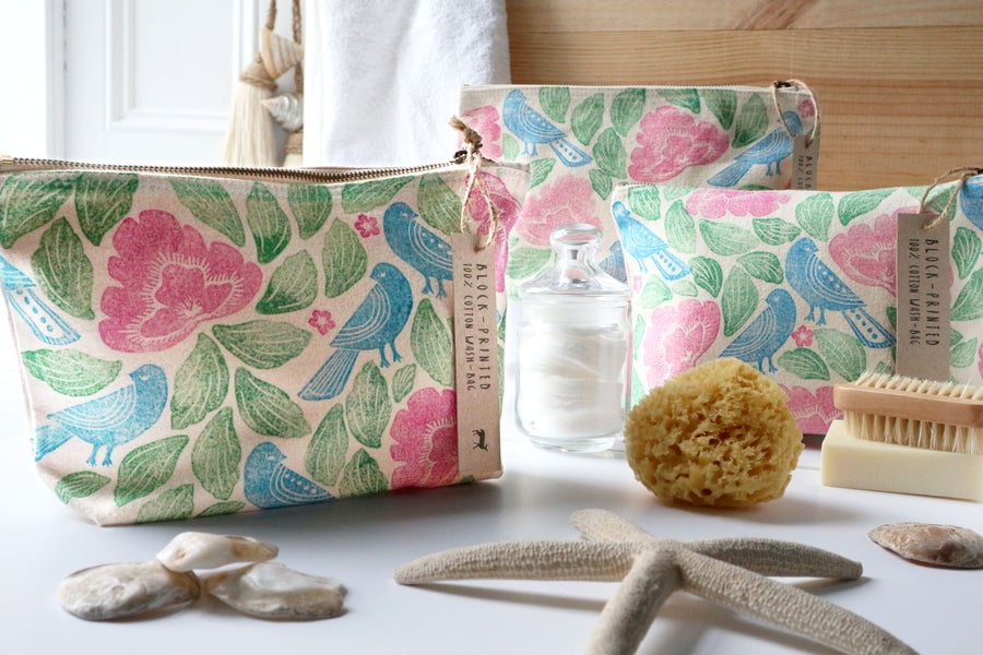 Image of Folk Art Cotton Canvas Cosmetic Bag, Limited Edition Block-Print