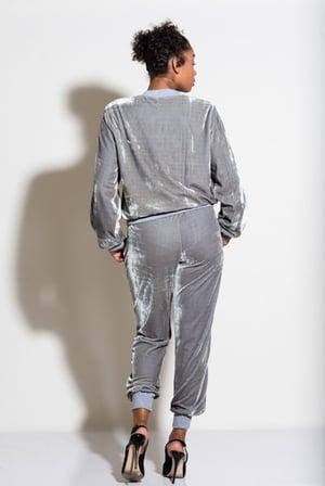 Image of Adidas Inspired Velvet Grey Jogger Set