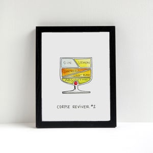 Image of Corpse Reviver #2 Cocktail Diagram Print