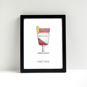 Martinez Cocktail Diagram Art by Alyson Thomas of Drywell Art. Available at shop.drywellart.com