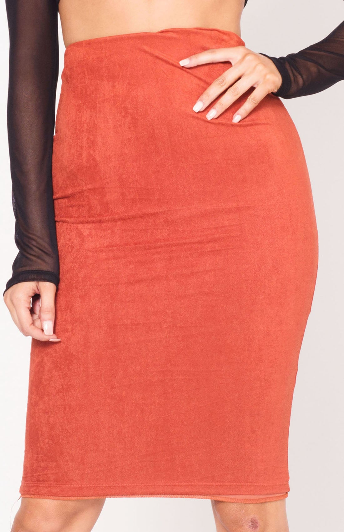 Image of Rust High Waist Suede Midi Skirt