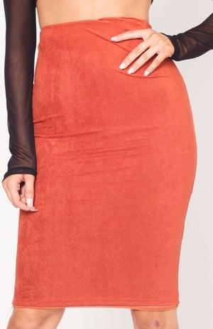 Image of Rust High Waist Suede Midi Skirt