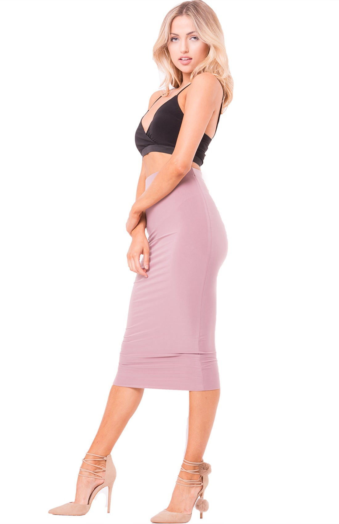 Image of Mauve High Waist Midi Skirt
