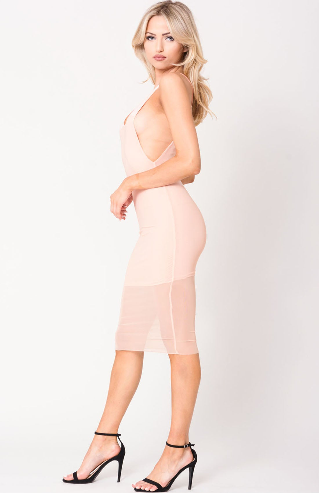 Image of Blush Overlay Mesh Midi Dress