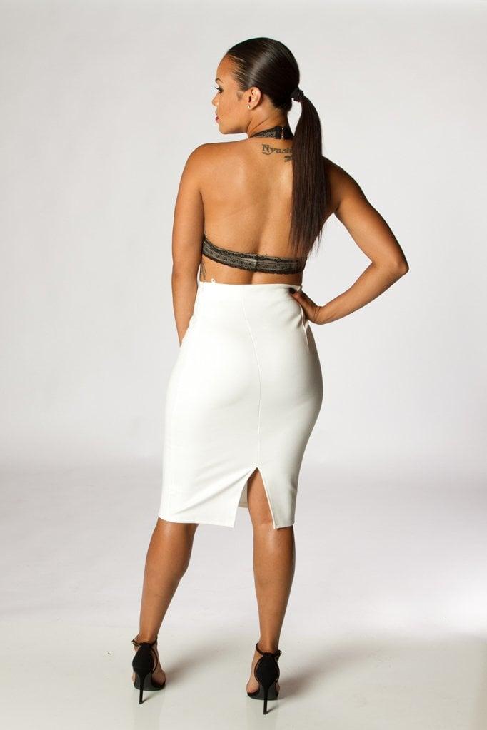 Image of White Slit High Waist Skirt