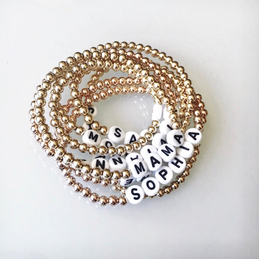 Image of Personalized Gold Bead Bracelet