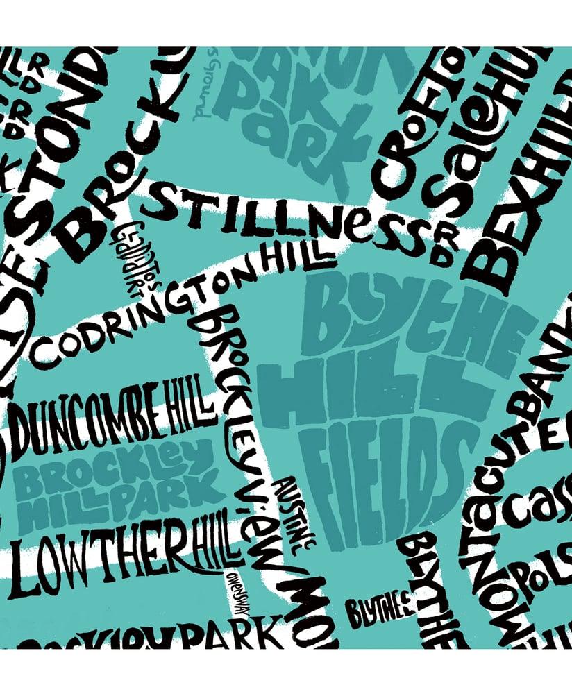 Image of Blythe Hill Fields - Honor Oak Park - Crofton Park - Map – Black text on a colour background