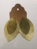 Image of Leather Earrings - Gold Stingray and Gold Double Large Leaf