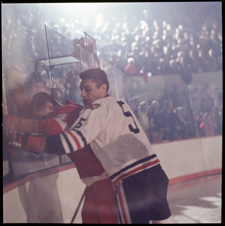 Image of Gordie Howe On The Glass; 1966