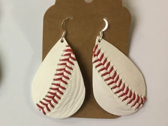Image of Leather Earrings - Baseball