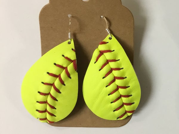 Image of Leather Earrings - Softball
