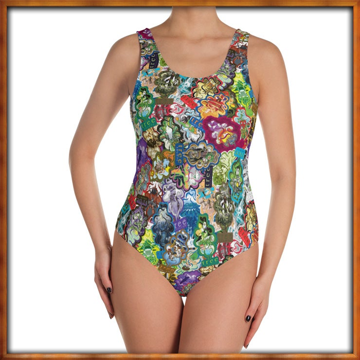 Image of All Over Trees One Piece Bathing Suit