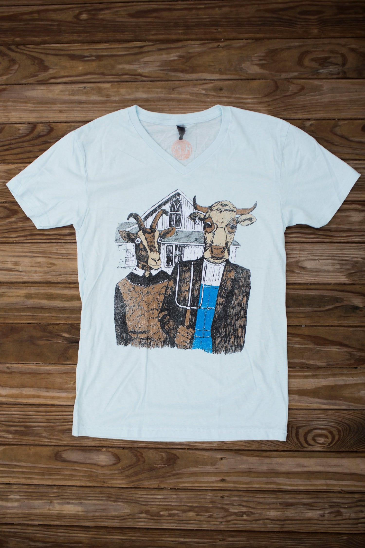 Image of Adult Mr P's Farmer Gothic V NECK tee