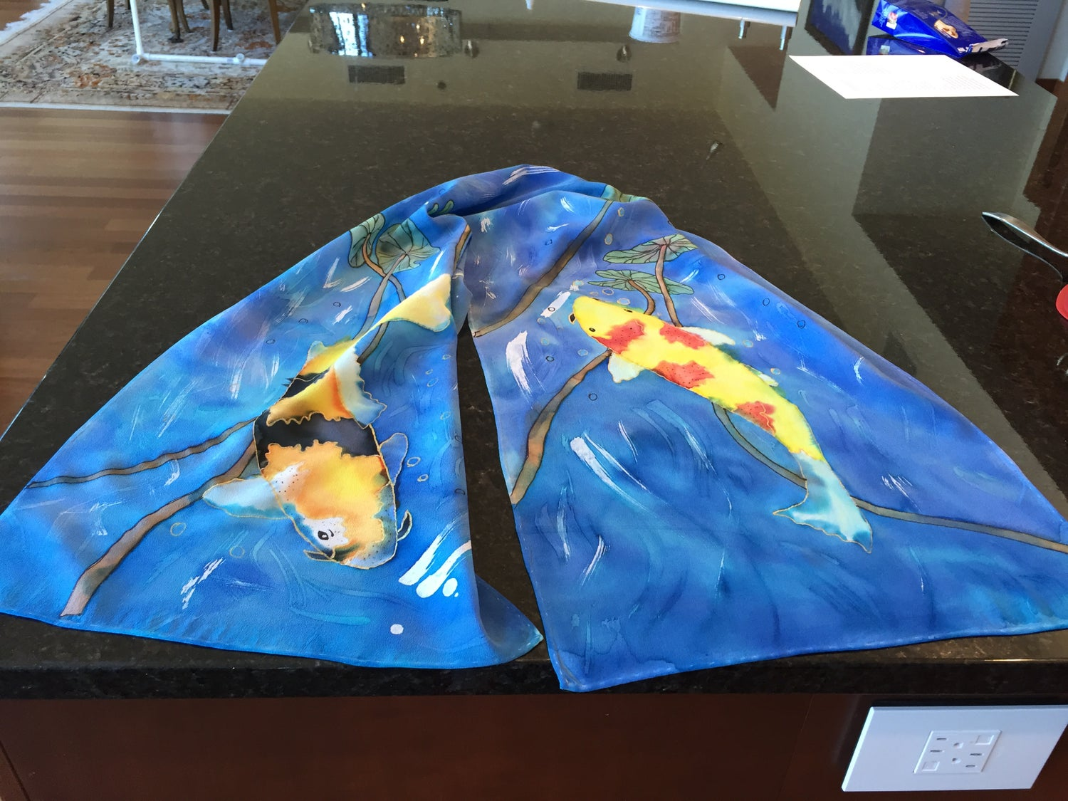 Image of Koi hand painted silk scarf