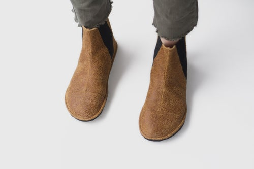 Image of High Top Chelsea boots - in Cracked Tobacco Suede