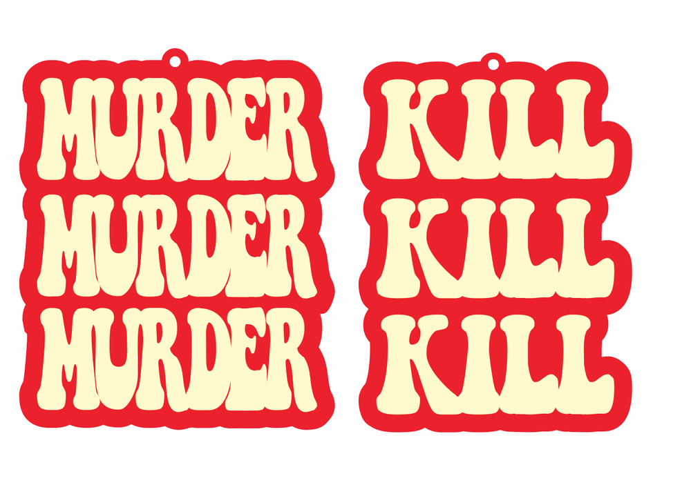 Image of Murder Murder Murder Kill Kill Kill Earrings Peach & Red