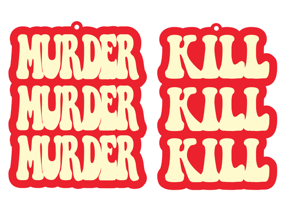 Murder Murder Murder Kill Kill Kill Earrings Peach & Red - Black Heart Creatives