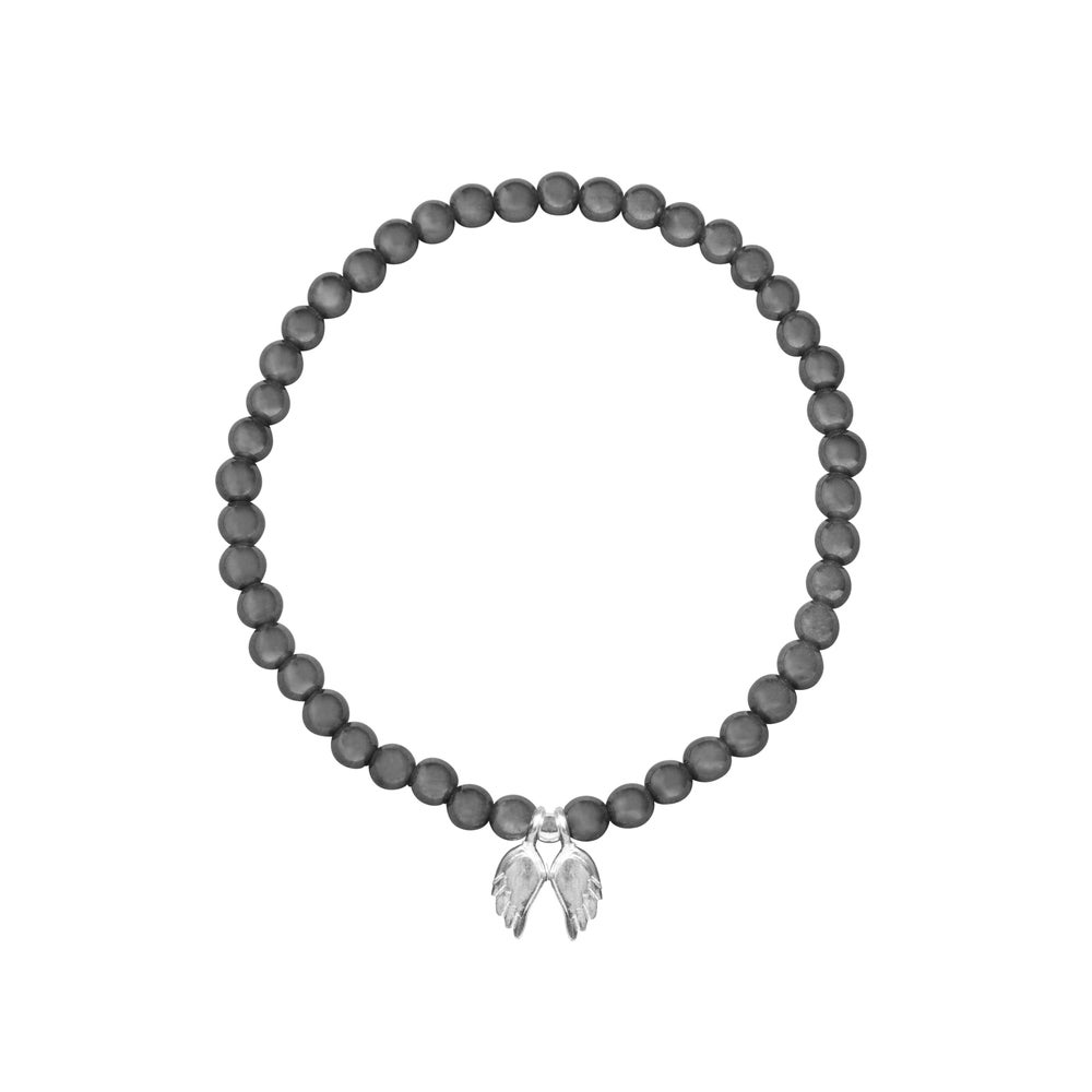 Image of Focus - Hematite Beaded Sterling Silver Angel Wings Bracelet