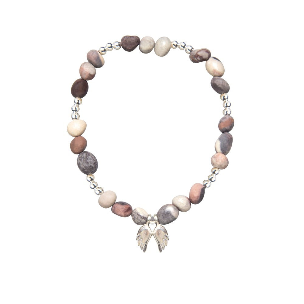 Image of Gratitude Stone Beaded Bracelet with Sterling Silver Angel Wings
