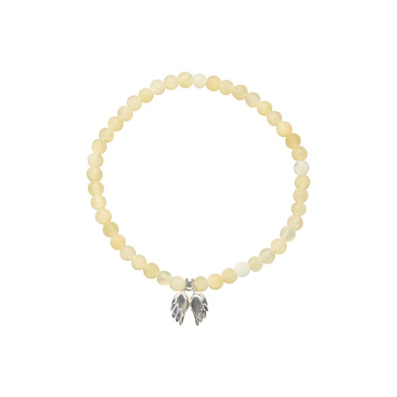 Image of Light - Yellow Jade Beaded Angel Wing Bracelet