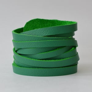 Image of jade leather wrap bracelet