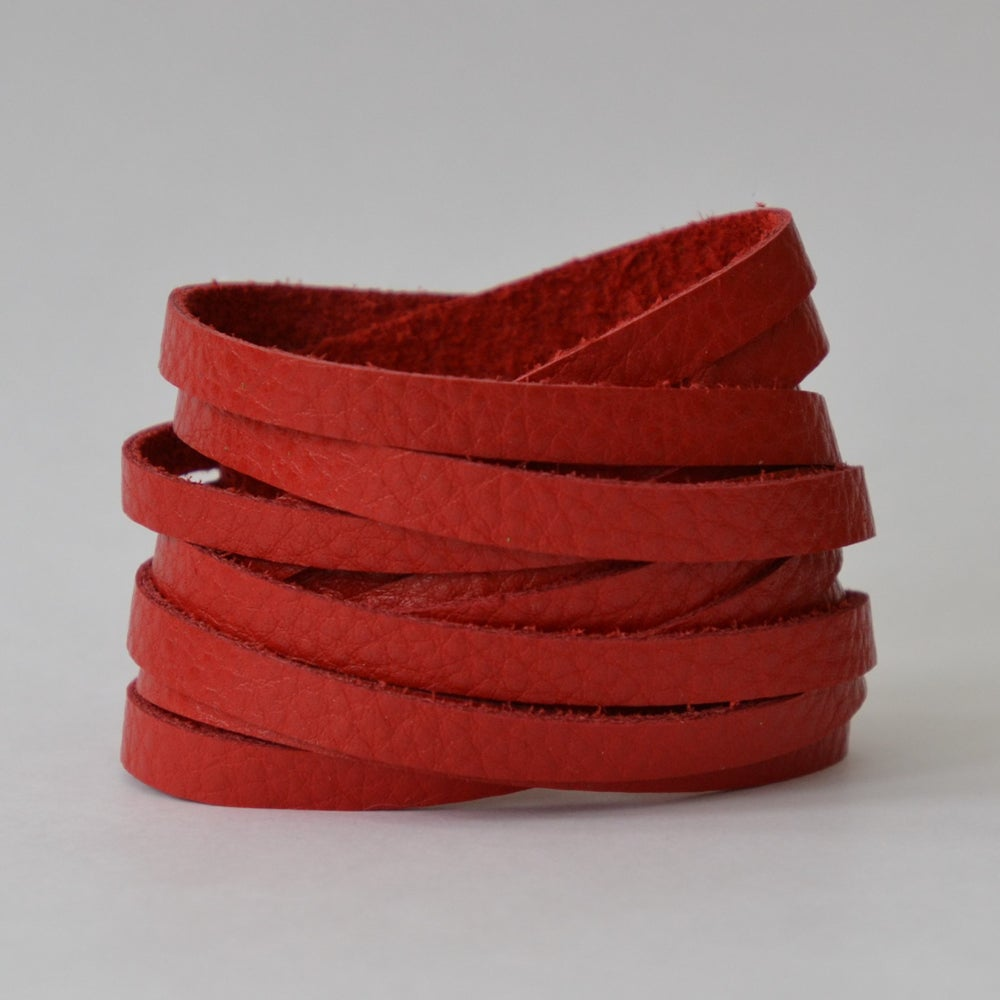 Image of Leather wrap bracelet - lipstick red