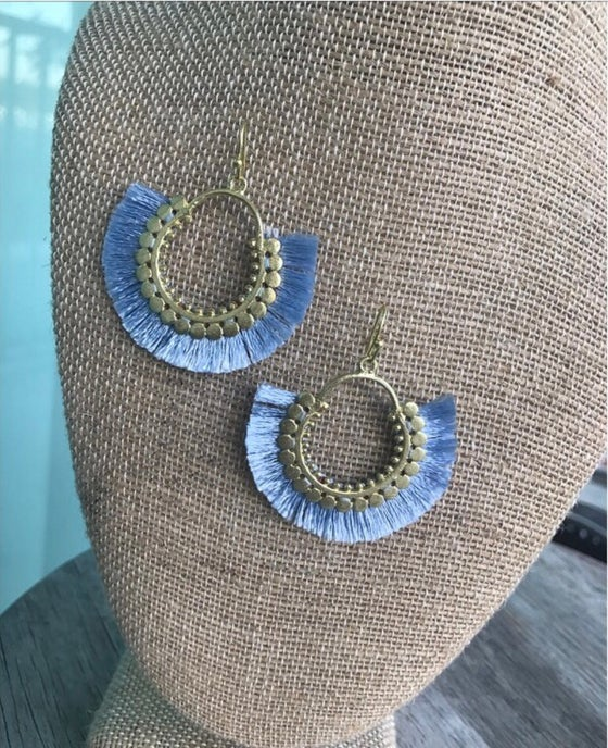 Image of Gorgeous blue tassel earrings
