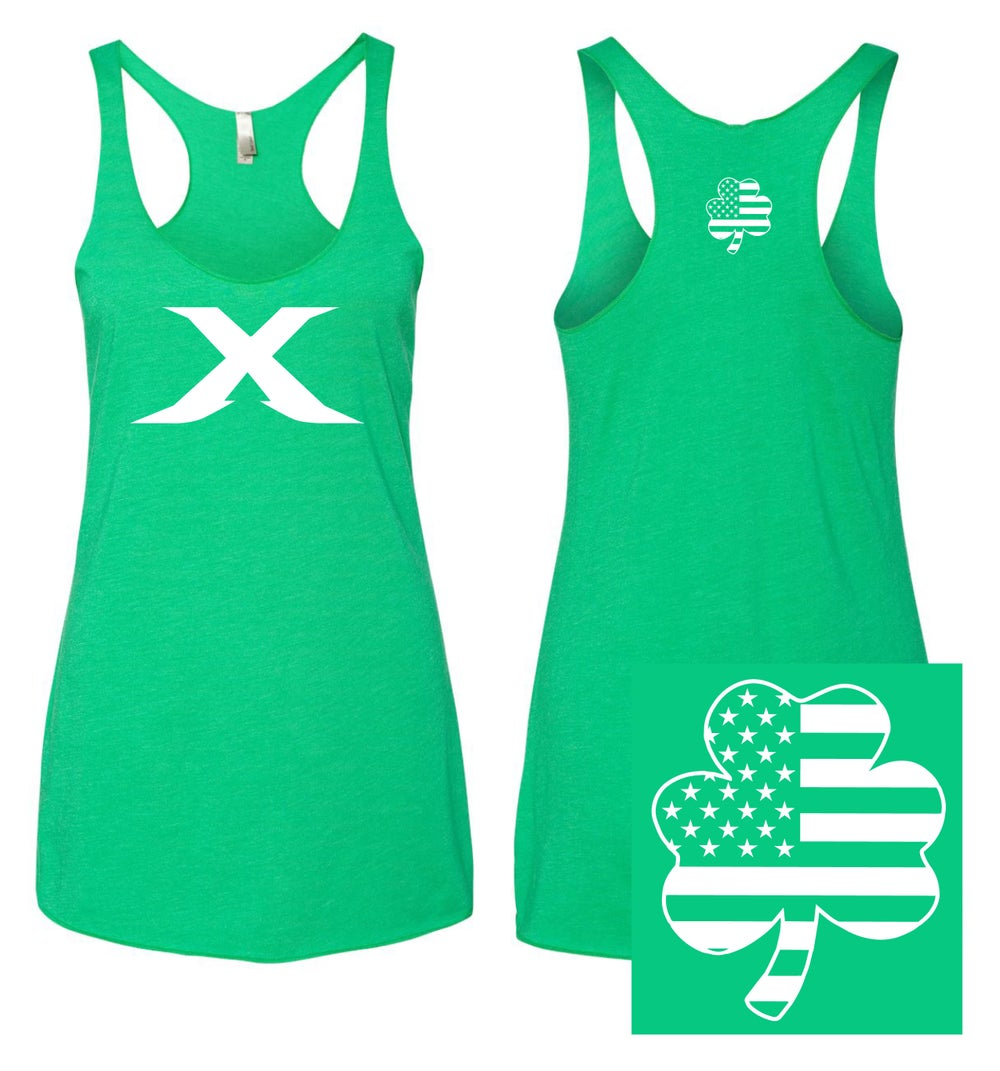"Image of The ""X"" Line Shamrock - Kelly Green Racer Back Tank"