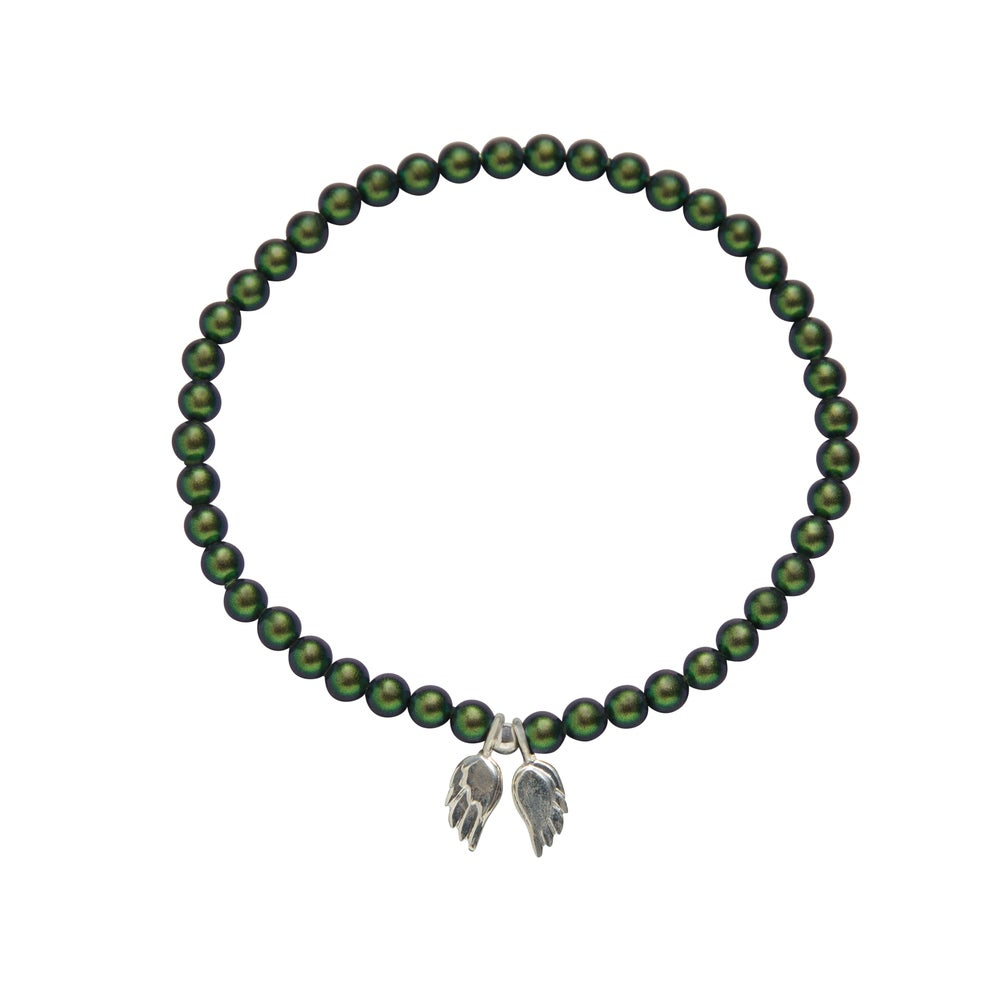 Image of Green Swarovski Pearl Angel Wing Bracelet