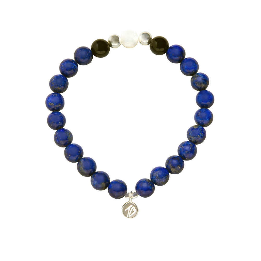 Image of MENS WISH Blue and White Beaded Bracelet