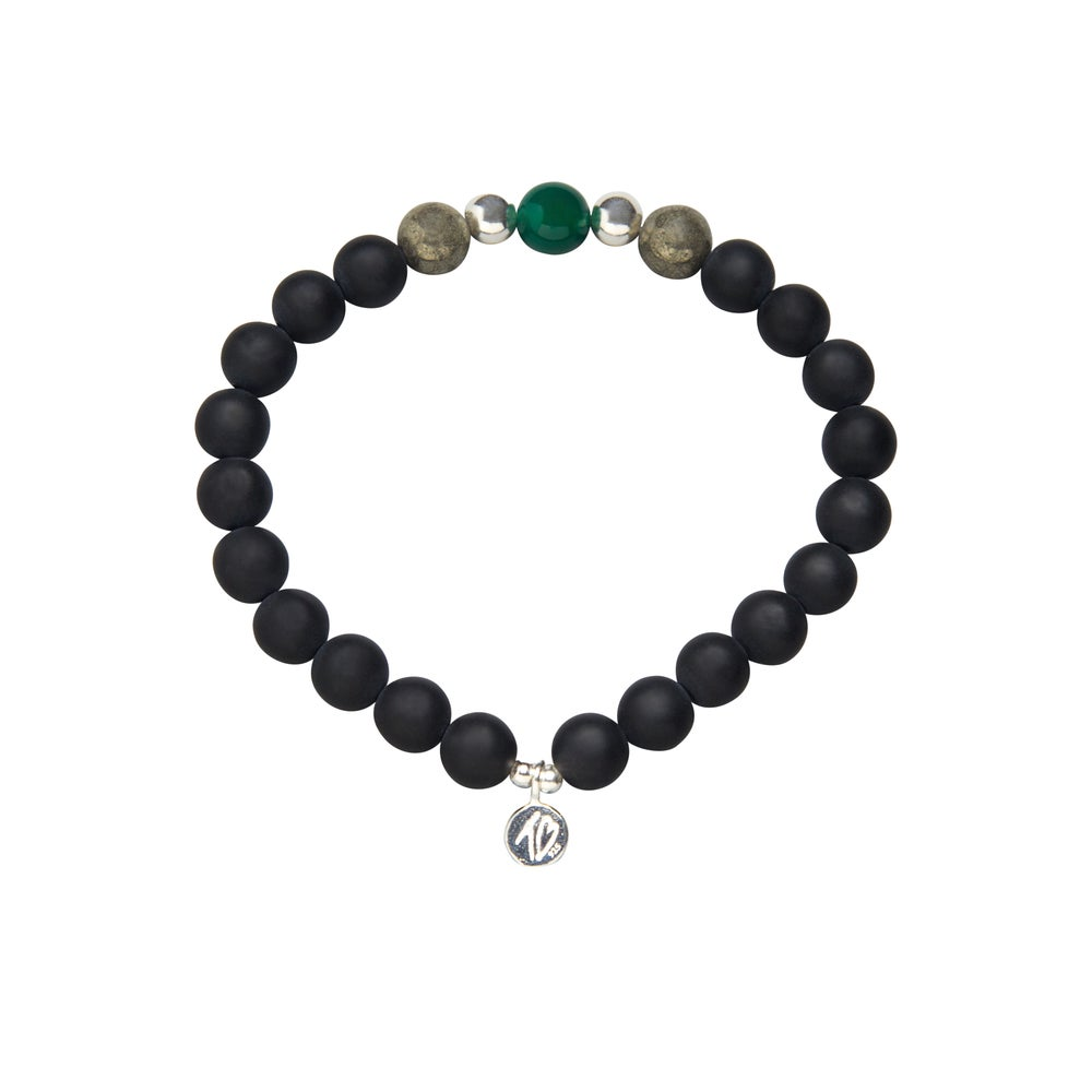Image of MENS WISH Black and Green Beaded Bracelet