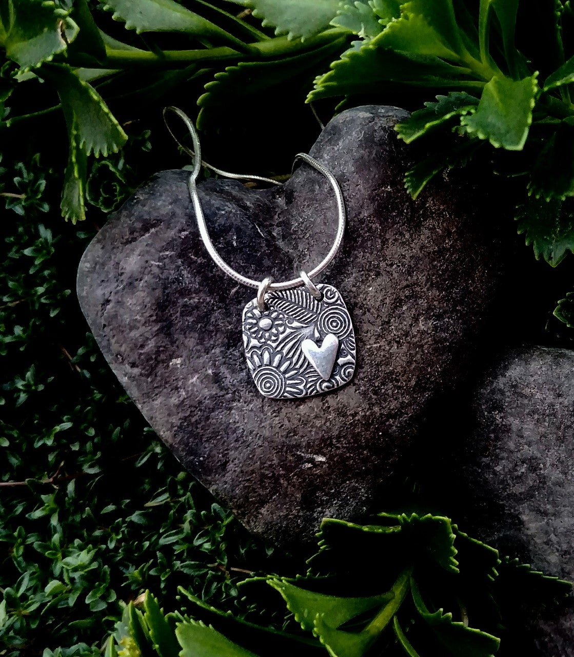 Image of Sunflower Tapestry Heart Necklace