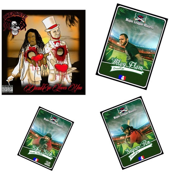 Image of *ORIGINAL WRAPPED* DreadEye Loves You + COMPLETE MLB TOUR HHE BASEBALL CARD 3 SET