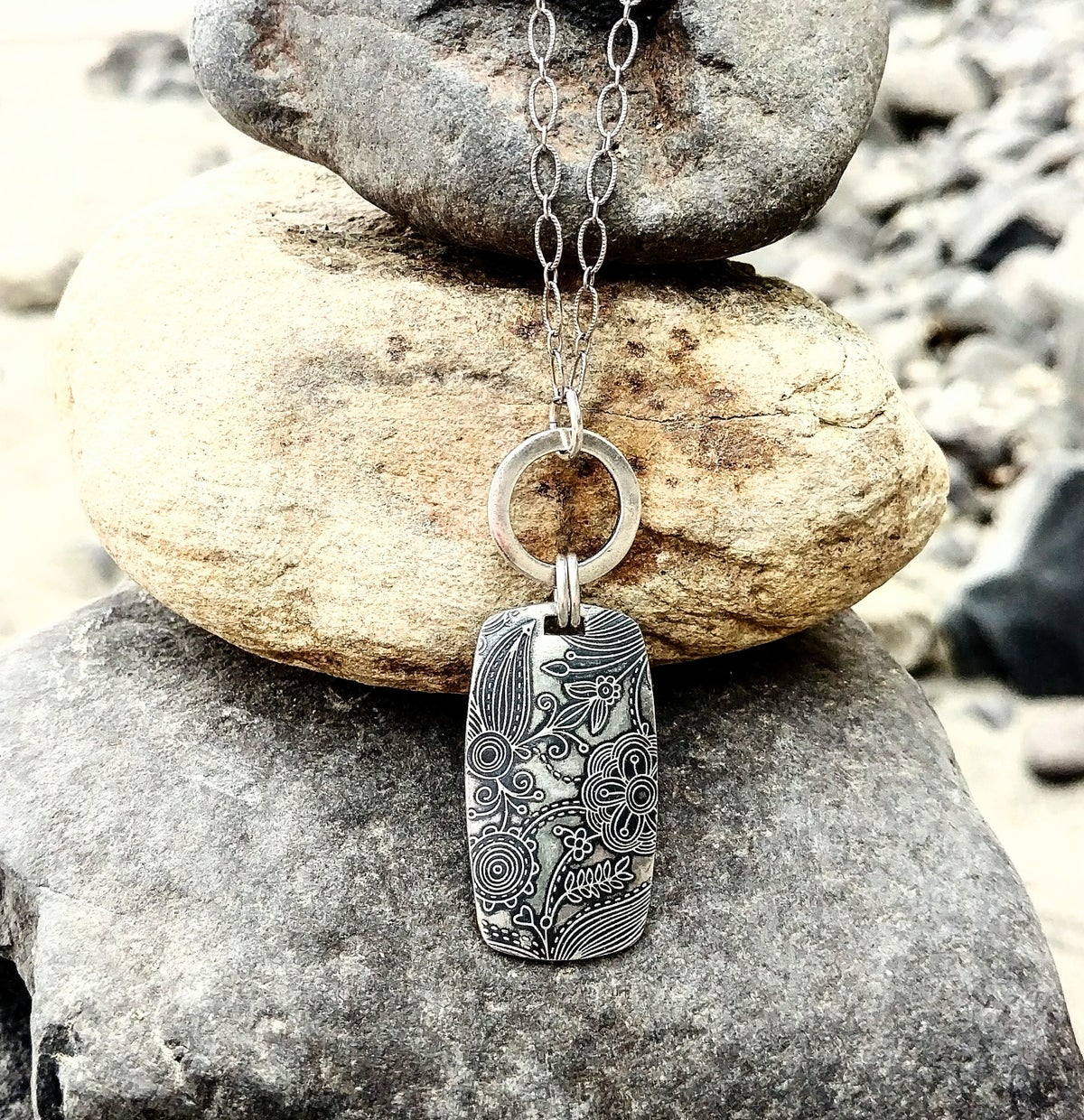 Image of Fineline Tapestry Dog Tag Necklace