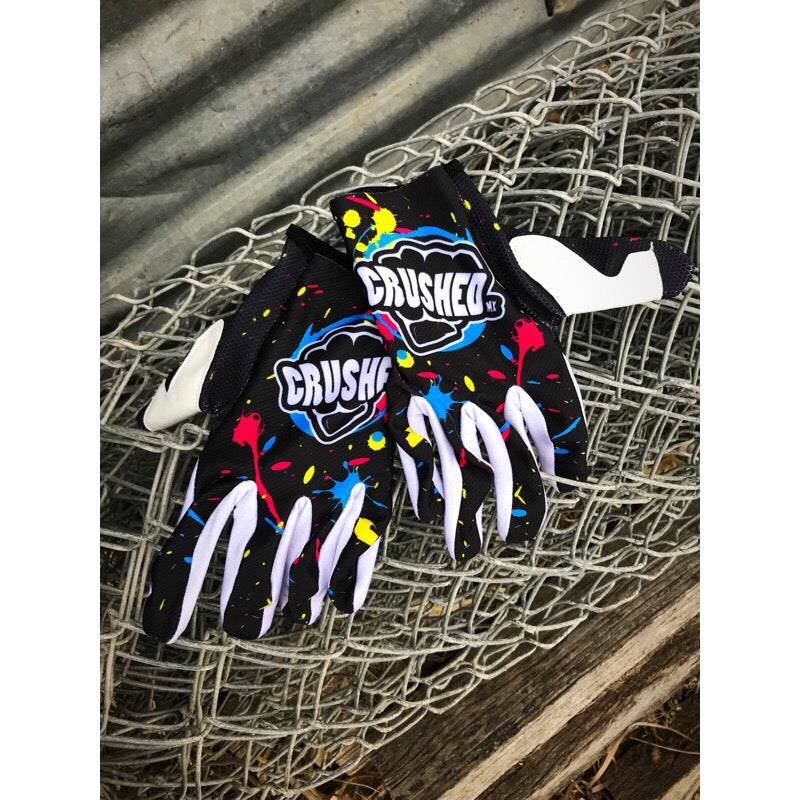 Image of Bright Splatter Paint Crushed MX Gloves