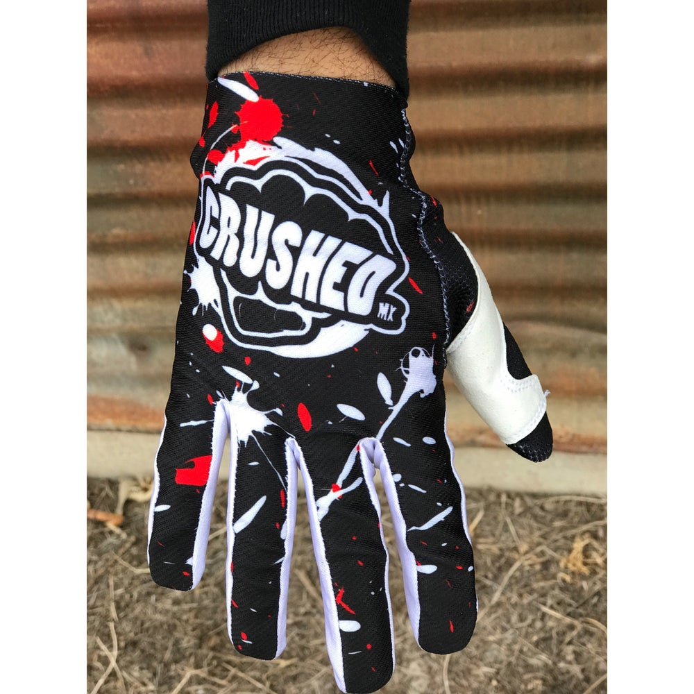 Image of Red Black and White Splatter Paint Crushed MX Gloves