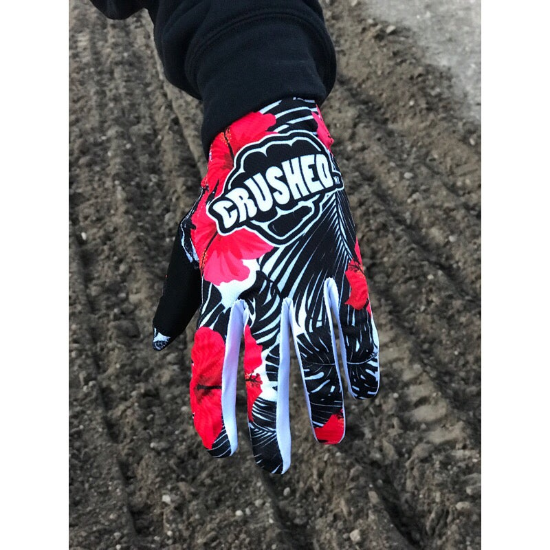 Image of Red Black and White Tropical Crushed MX Motocross Gloves