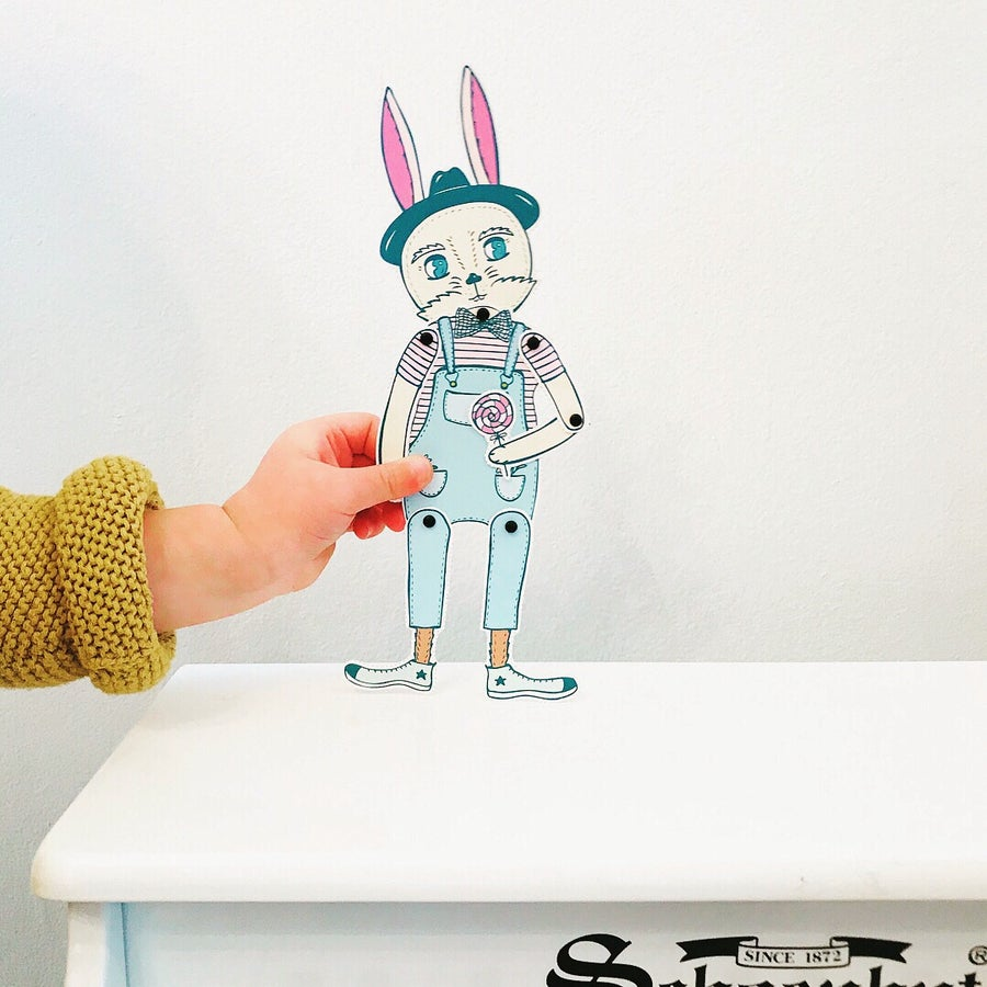 Image of Enthusiastic Bunny Friend Articulated Paper Doll