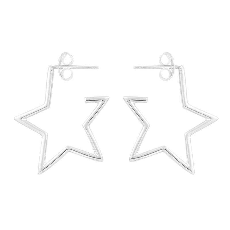 Image of Sterling silver Star Hoops
