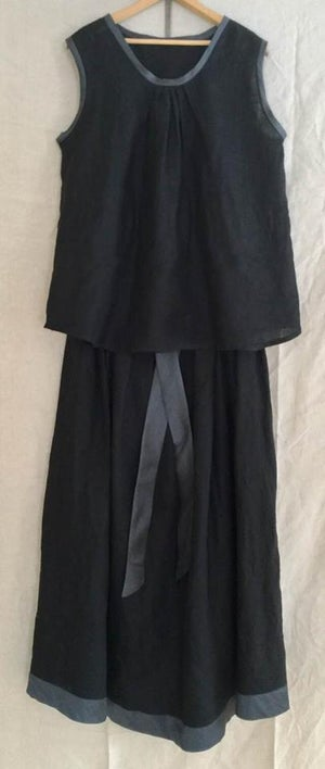 Image of black linen tank with silk bands