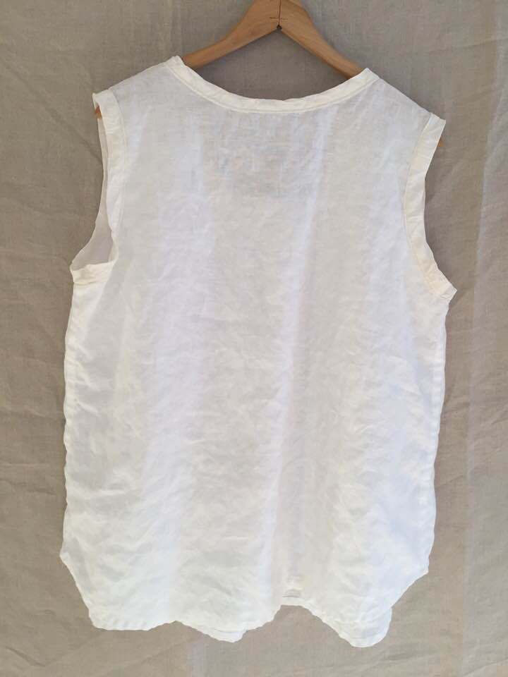 Image of white linen tank with silk bands